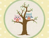 Cute Owls on Tree. Owl Cross Stitch Pattern PDF Instant Download
