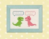 Trex Love. Cute Tyrannosaurus Rex Dinosaur Cross Stitch Pattern PDF Instant Download