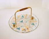 Georges Briard Vintage Dove Turquoise, White and Gold Cake Serving Plate
