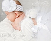 White Angel Baby Tutu, headband and feather wings 3 piece set, newborn photo props, choose girls sizes infant to 24 months -HEAVENLY ANGEL