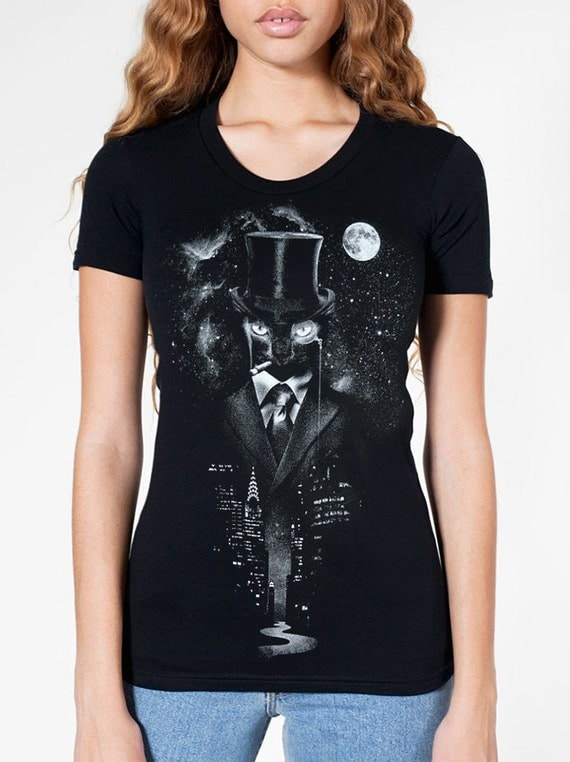 Night Watch - American Apparel Womens T shirt ( Space, Galaxy, Cat print clothing, Surreal t shirt )