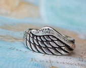 Angel Wing Jewelry, Angel Wing Ring, Silver Angel Wing Ring, Unique Silver Ring, Rustic Artisan Jewelry, Size 4 5 6 7 8 9 10 11 12 13 14 15
