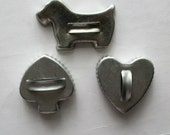 3 pcs Vintage Aluminum Ripple Edge Cookie Cutters