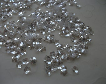 New Item, Bridal Wedding Gown Sequins -- 7g of 5 mm Cupped FLOWER Sequins in Super Sparkle Clear Color