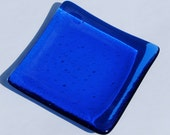 Royal Blue Little Fused Glass Dish - Spoon Rest - Trinket Dish - Soap Dish