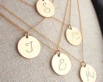 Gold Initial Necklace | Gold Letter Charm | 14K Gold Fill Script Letter Charm Necklace | LYLA E Ria Designs