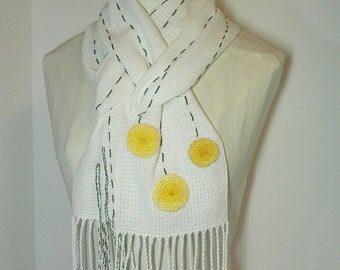 Handwoven Scarf, Multi-seasonal French Knot Floral Cotton Scarf by Frederick Avenue