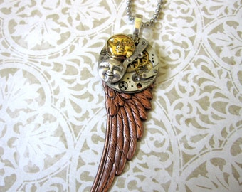Wing Necklace, Full Moon Necklace, Brass Sun, Steampunk Necklace, Rocker Necklace, Silver Moon, Moon Face, Copper Wing, Celestial, Rock Star
