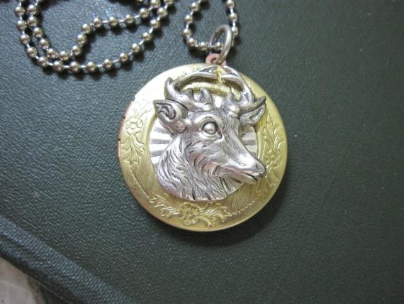 Deer Locket,  Locket Necklace, Silver Deer, Reindeer Locket, Reindeer, Unique Locket, Woodland Necklace, Animal, Photo Locket, DaysLongGone
