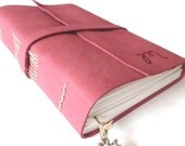 FREE SHIPPING, Personalised Leather Journal, Dark Fuchsia
