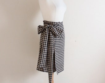 simple wrap check cotton skirt with wide obi