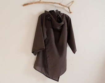 eco mid weight linen  wrap jacket  made to fit listing