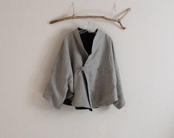 custom oversized reversible  linen cape coat / plus size jacket / winter linen jacket / free size coat / women jacket / women clothing /