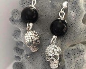 halloween bridesmaid gifts earrings Skull Weddings, Brides , Bridesmaids gift earrings Black Glass Pearl Earrings with Rhinestone skull
