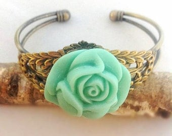 Mint Green Resin Rose cuff bridesmaids gifts
