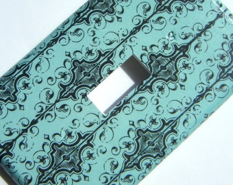 Light Switch Cover Switchplate -- Aqua and Black Fancy Pattern