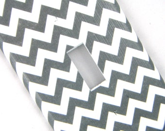 Grey Chevron Light Switch Cover Switchplate
