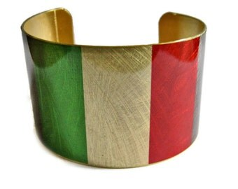 Italy FLAG cuff bracelet Italian Brass Heritage Gifts for her