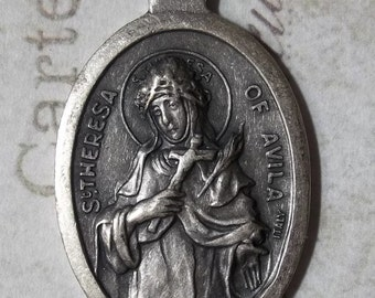 Saint Theresa Of Avila Holy Italian Medallion Protector Against Headaches & Illness, Patron Of Lace Makers, Pray For Us Religious Medal