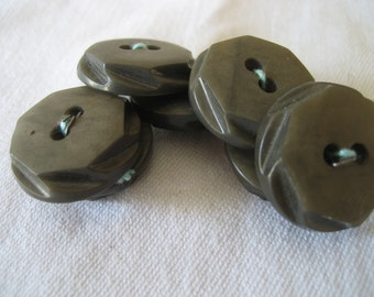 Set of 7 VINTAGE Thick Olive Green Plastic BUTTONS