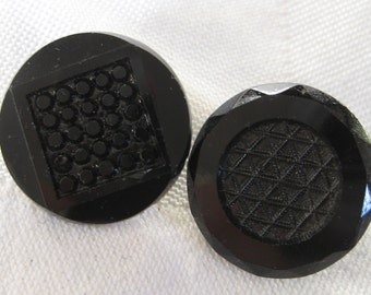 2 ANTIQUE Black Glass BUTTONS