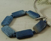 Dumortierite Bracelet Blue Stone Bracelt Periwinkle Serling Silver