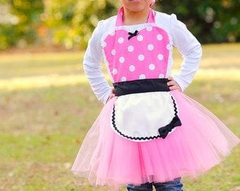 pink MINNIE MOUSE apron kids TUTU Dress up apron hot pink  Polka Dots