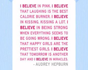 i believe in pink audrey hepburn quote 11 x by