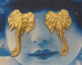 Natural Raw Brass Large Elephant Head Pendants 975RAW x2