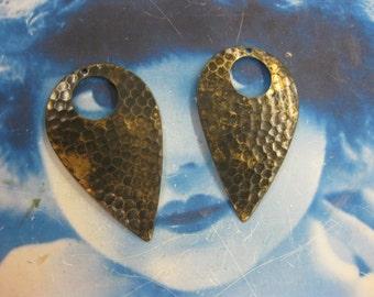 Hand Aged Oxidized Patina Brass Hammered Drop 463HOX  x2