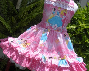 Made to Order Custom Boutique Disney Pink Princess Ruffled Dress Girl 2 3 4 5 6 7 8
