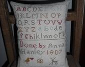 Primitive Cross Stitch School Girl  Sampler Cupboard or Shelf Pillow