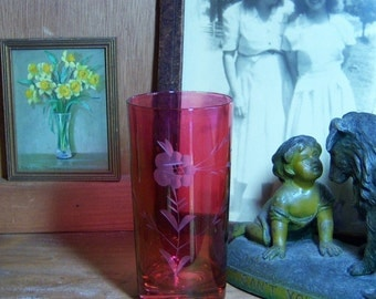 4 Vintage Etched Ruby Flash Tumblers