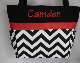 CHEVRON  in BLACK   .. Red  Accents  ...   Diaper Bag ... Bottle Pockets ... Monogrammed  FReE