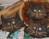 EPATTERN - Halloween Black Cat Head Tucks Bowl Fillers Ornies Primitive Pattern