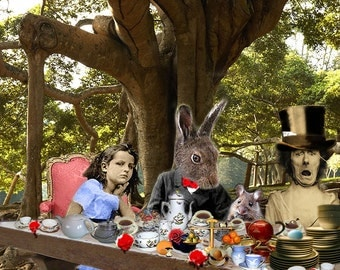 A Mad Tea Party: Full Version - 11x14 Alice In Wonderland Inspired Fantasy Collage Print