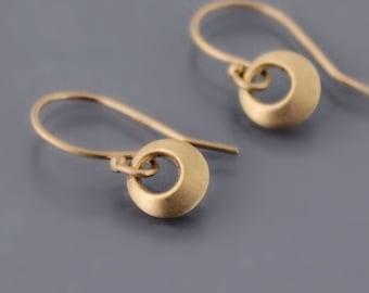Tiny 14K Gold Earrings, loop earrings, gold circle earrings, dainty gold earrings, minimalist earrings