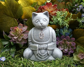 Meditation Cat Buddha - Zen Cat - Ohm Cat - Concrete Garden Art
