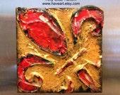 STUDIO SALE Textured Gold Red original painting MAGNET