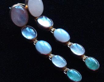 Earrings, Vintage Sterling Silver Cabachon Pale Quartz Earrings
