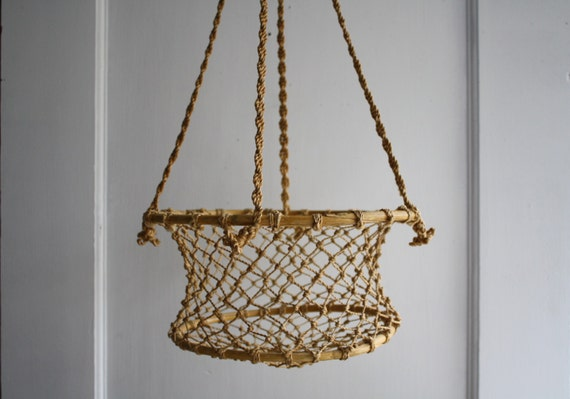 macrame hanging basket vintage macrame hanging basket by littlebyrdvintage on etsy 2339