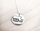 Tiny Massachusetts necklace, silver state jewelry Massachusetts map pendant