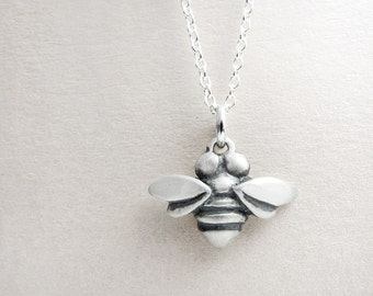 Very tiny bee necklace, silver honey bee jewelry, bee pendant