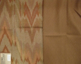 Rust Tan Wool Upholstery Designer Fabric Lot Pillow Kit Flamestitch Solid Toast