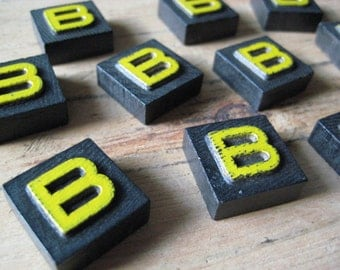 Vintage Wood Anagram Game Pieces, B Initial, BOSTON BRUINS, Create your own word or saying, Word Art, Home Decor, Custom Order