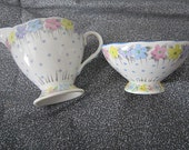 Antique Foley EB Creamer and Sugar - Dainty polk a dots and Daisies - ca1913