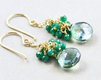 Green Quartz Dangle Earrings, Onyx Cluster Earrings, Handmade