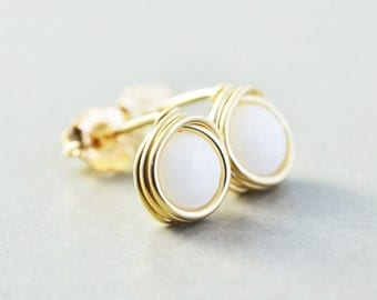 White Onyx Studs, White Post Earrings, Gold Filled Posts, White Studs