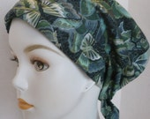 Elegant Teal Butterfly Chemo Scarf Cancer Turban Hat Cotton Bad Hair Day Head Wrap Covering