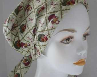Serene Christmas Chemo Cancer Hairloss Scarf Turban Hat Headwrap English Traditions